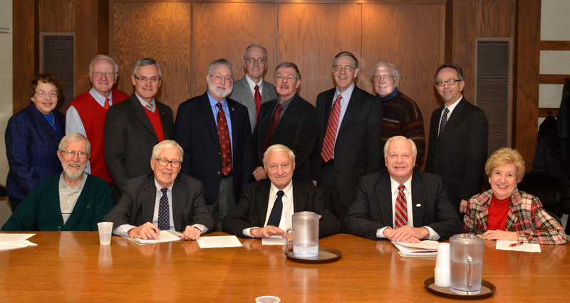 Members of the YSU Academy are, from the left, seated, Lowel Satre (History), Ronald Gould (Music), Donald Mathews (Marketing), George Beelen (History) and Dorcas Fitzgerald (Nursing), and standing, Janet Del Bene (Chemistry), Stephen Hanzely (Physics), Jim Tressel (YSU President), Richard Shale (English), Ronald Mikolich (Cardiology), Richard Mitchell (Art), Stephen Sniderman (English), Lauren Schroeder (Biology) and Steven Schildcrout (Chemistry). Members not pictured are Alfred Bright (Art), William Binning (Political Science), Joseph Edwards (Music), Ikram Khawaja (Geology), Gary Salvner (English) and Charles Singler (Geology).