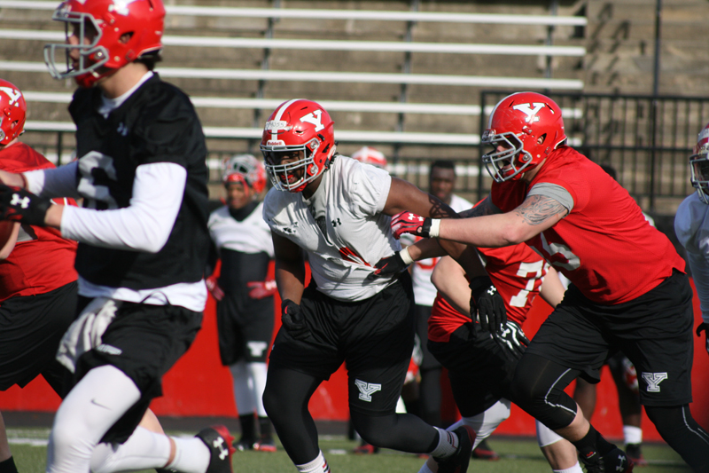 The 2015 Penguins football team practices earlier this month in preparation for the annual Red-White Game 7:30 p.m. Friday, April 17 in Stambaugh Stadium.