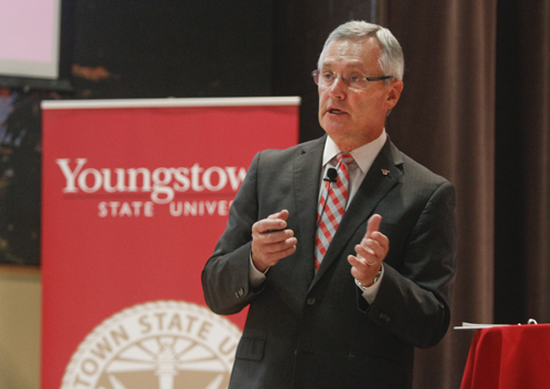 President Jim Tressel at the State of the University in Kilcawley Center.