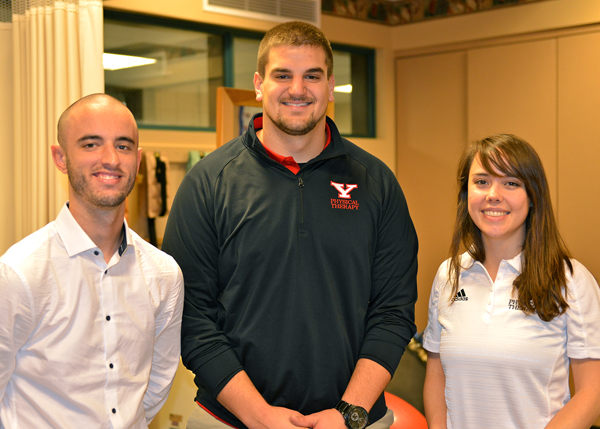 Research by three students in YSU's doctorate of Physical Therapy program has been accepted for presentation at a prestigious national conference in physical therapy. The students are, from the left, Drew D. Snyder, Jeremy C. Oller and Teale K. Bennett.