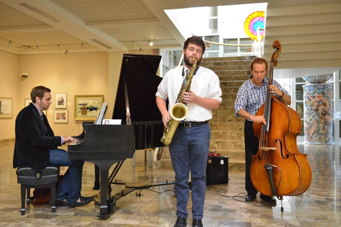 The Dana School of Music's free Music at Noon concerts continue throughout this semester in the Butler Institute of American Art. Here, pianist Alexander Ayers, saxophonist Joshua Wertz and bassist David Morgan perform at a recent concert. Below is saxophonist Stephen Harvey. The performances are Wednesdays at 12:15 p.m.