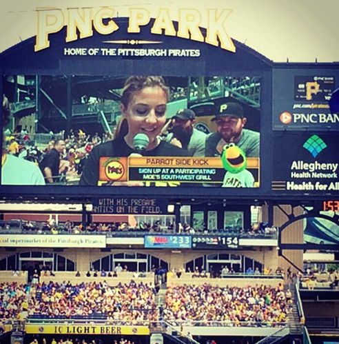 YSU student Lauren Minenok on the jumbo scoreboard in left field at PNC Park.