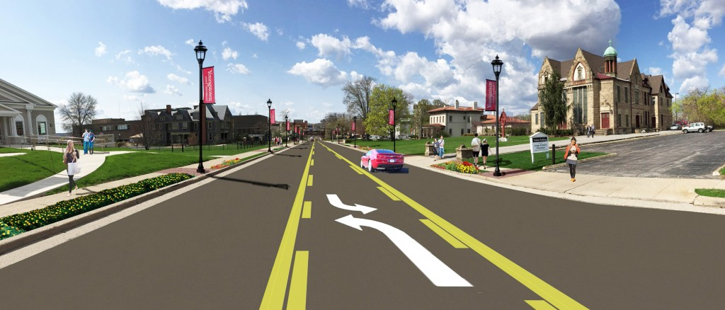 Rendering of the improved Wick Avenue, looking south.