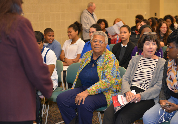"Civil rights leader and peace activist Minnijean Brown Trickey, one of the Little Rock Nine who defied threats to attend an all-white high school in 1957, waits to be introduced for a presentation on campus earlier this month. Brown Trickey was at YSU to screen a documentary on her life titled ""Journey to Little Rock: The Untold Story of Minnijean Brown Trickey"".  At the age of 16, Brown Trickey was one of the Little Rock Nine, the nine black teenagers in Arkansas who defied death threats, hostile white demonstrators and the National Guard, to attend an all-white high school."