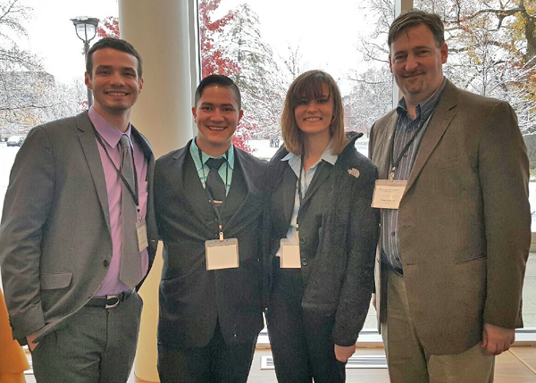 Members of the YSU Ethics Bowl are, from the left, Jacob Shriner-Briggs of Austintown, Tyler Miller Gordon of Hubbard, and Lindsay Heldreth of Canfield, along with Alan Tomhave, coach and associate professor of Philosophy.