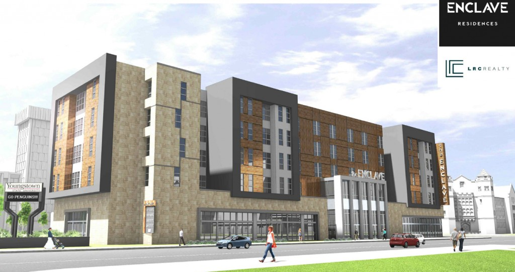 Preliminary drawing of the new apartments, looking northwest up Wick Avenue. The exact location of the building along the street has not been determined.