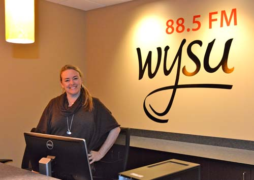 Tricia Perry, funding officer at WYSU, at the new offices in Melnick Hall.