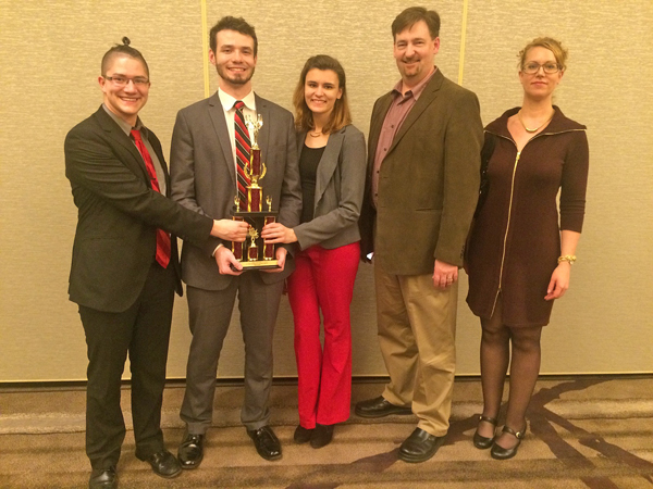 The YSU Ethics Bowl team, from the left, Tyler Miller Gordon, Jacob Shriner-Briggs and Lindsay Heldreth, placed second in the nation in the recent Intercollegiate Ethics Bowl in Virginia. Also pictured are the team's coach, Alan Tomhave, YSU associate professor of Philosophy and Religious Studies, and Deborah Mower, professor of Philosophy and Religious Studies.