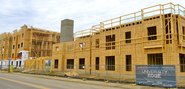 Construction continues on University Edge Apartments along Rayen Avenue on the West Side of campus.