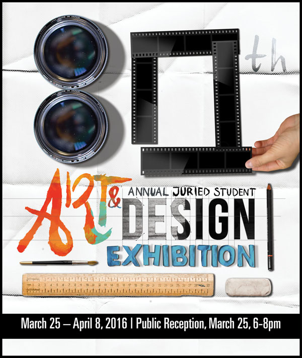 The 80th Annual Juried Student Art and Design Exhibition,opens Friday, March 25 in the McDonough Museum of Art. Deanna Cameneti, a YSU graphic design major, created this identity design for the exhibition.