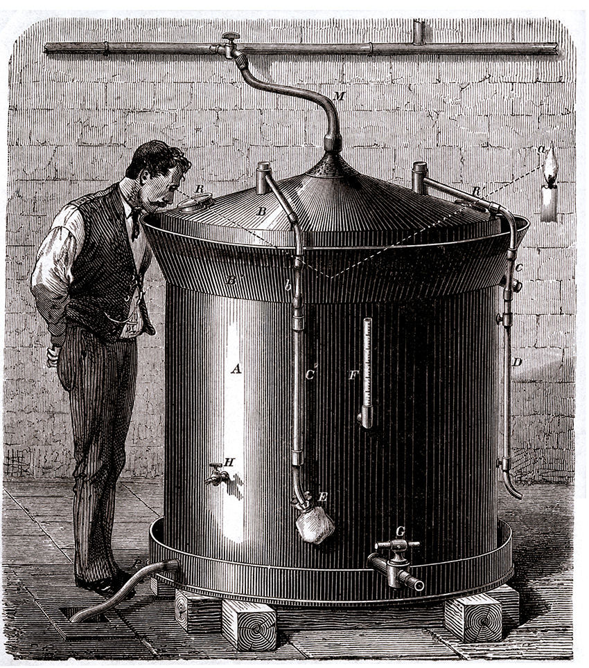 """This engraving of a beer vat designed by Louis Pasteur, circa 1880, is part of the """"From DNA to Beer"""" exhibit at YSU."""
