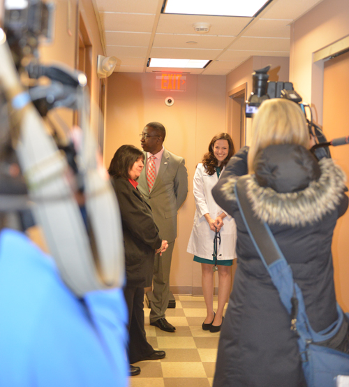 News crews shoot footage in the YSU Mercy Health Clinic in Kilcawley House.
