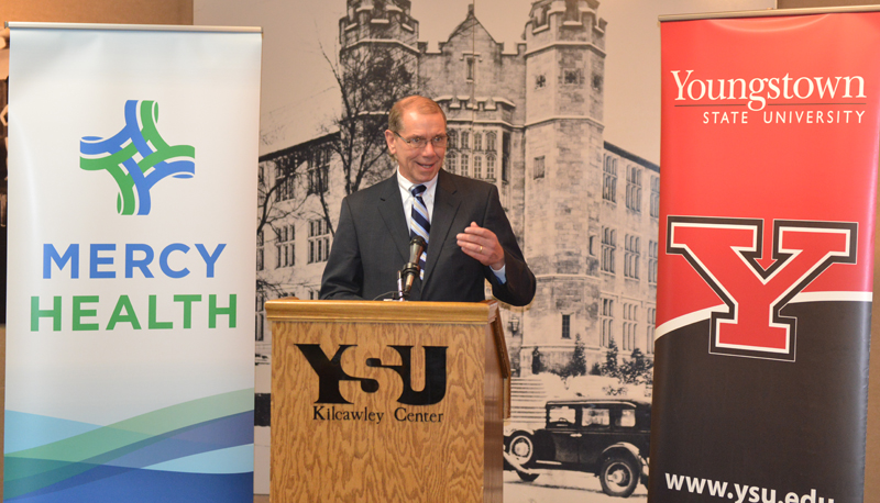Don Kline, president and CEO, Mercy Health-Youngstown, speaks at the news conference on campus.