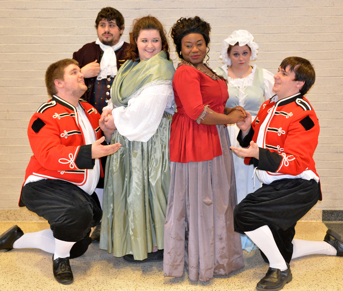 Among  the cast members in the YSU opera, Così fan tutte, are:  front row Victor Cardamone, Kathryn Cramer, Sierra McCorvey, Anthony Humphrey, and second row Dean La Salandra and Erika Walker.