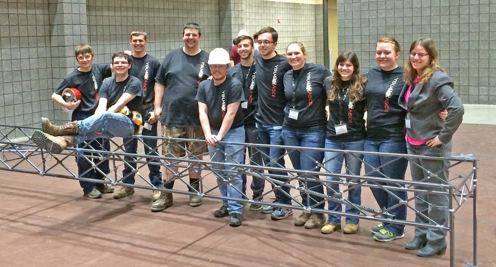 Members of the YSU Steel Bridge team are, left to right, Nico Pagley, David Mendenhall, Tommy Carnes, Harold (BJ) Winner, Kenny Anderson, Nico Lucarelli, Jake Millerleile, Leah McConnell, Miranda DeFuria, Taylor Simcox and Karen Schilling.