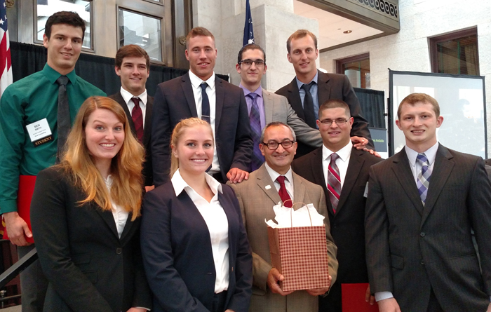 Nine YSU students graduated from the 2016 Export Program this past May. From left: front row, Jana Janson, Hailey Sturtz, Mousa Kassis (International Trade Advisor with SBDC at YSU). Mohammed Yusuf and Robert Grahovac; back row, Ben Smith, Connor Kesner, Daniel Hess, Tibor Baki and Dumitru Silviu.