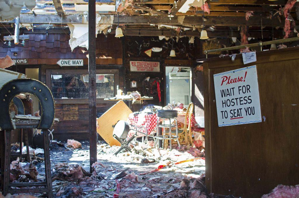 This photo of the aftermath of a fire at the Silver Spur Saloon in Cave Creek, a small town north of Phoenix, was taken this summer by YSU student Graig Graziosi was serving a Pulliam Journalism Fellowship in Arizona.