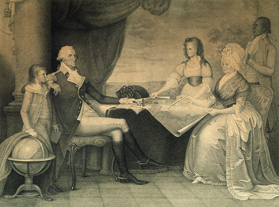 George Washington with his family, engraving by Edward Savage, ca. 1790–1798.