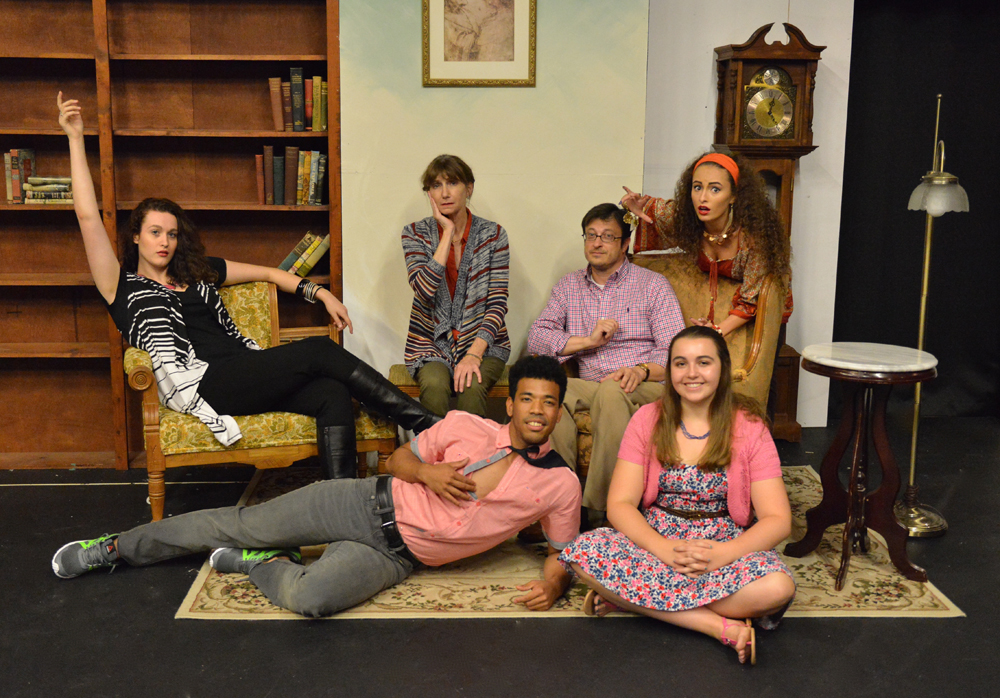 "The cast of University Theater performance of ""Vanya and Sonia and Masha and Spike"" includes: (bottom row) Quincy Carrier and Jessica Joerndt and (top row) Theresa Leonard, Molly Galano, James McClellan and Mia Colón."